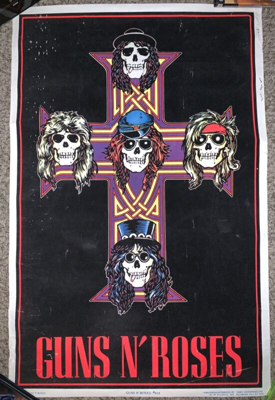 Guns N Roses GNR Blacklight Poster 1988 819 Funky Appetite For Destruction