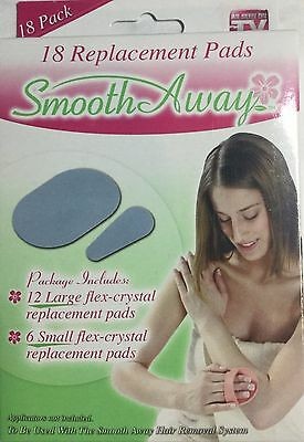 SMOOTH AWAY HAIR REMOVAL 18 REPLACEMENT PADS AS SEEN ON TV REFILLS 12 LARGE 6 SM
