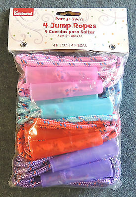 4pk Jump Ropes Party Favors Pink Blue Red & Purple Way to Celebrate WalMart NIP