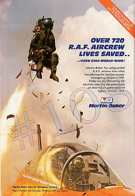 MARTIN-BAKER Ejector Seat ADVERT Original 1993 Advertisement 720 RAF lives saved