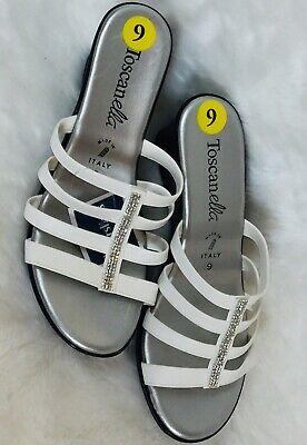 Toscanella Silver/White Rhinestone Accent Wedge Sandals. (Rhinestone Silver Sandal)