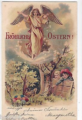Fröhliche Ostern Engel Kinder und Osterhasen AK 1903