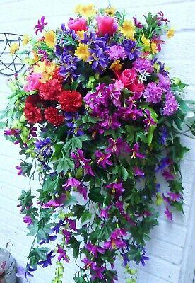 SUPERIOR EX LARGE ARTIFICIAL FLOWER HANGING BASKET *** BEAUTIFUL ***