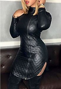 Latex Leather Look Quilted Look Dress Front Side Zip High Neck Long Sleeves