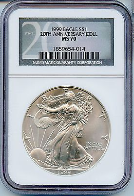 Click now to see the BUY IT NOW Price!  1999 NGC MS 70 20TH ANNIVERSARY AMERICAN SILVER EAGLE 1OZ.  SPOT FREE JE169