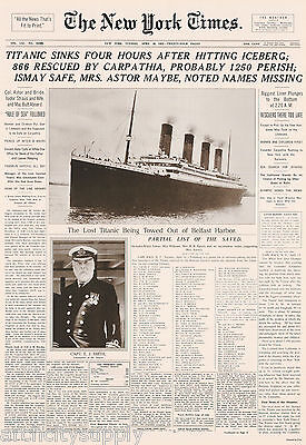 POSTER: NEWSPAPER HEADLINE: TITANIC DISASTER - FREE SHIPPING  #3184  LP52 U