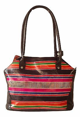 India Handmade Leather Boho Rainbow Ethnic Shantiniketan Shoulder Tote Bag
