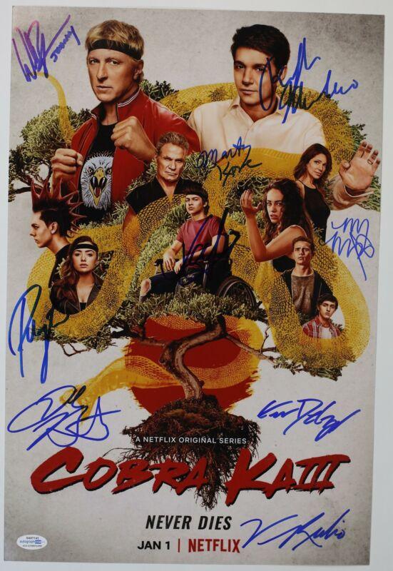 """Cobra Kai"" Cast AUTOGRAPHS Signed 12x18 Poster Photo - Zabka, Macchio +7 ACOA"