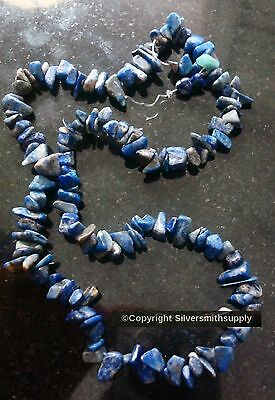 Approximately 16 Beads - Lapis lazuli natural stone chip beads small-med size 16