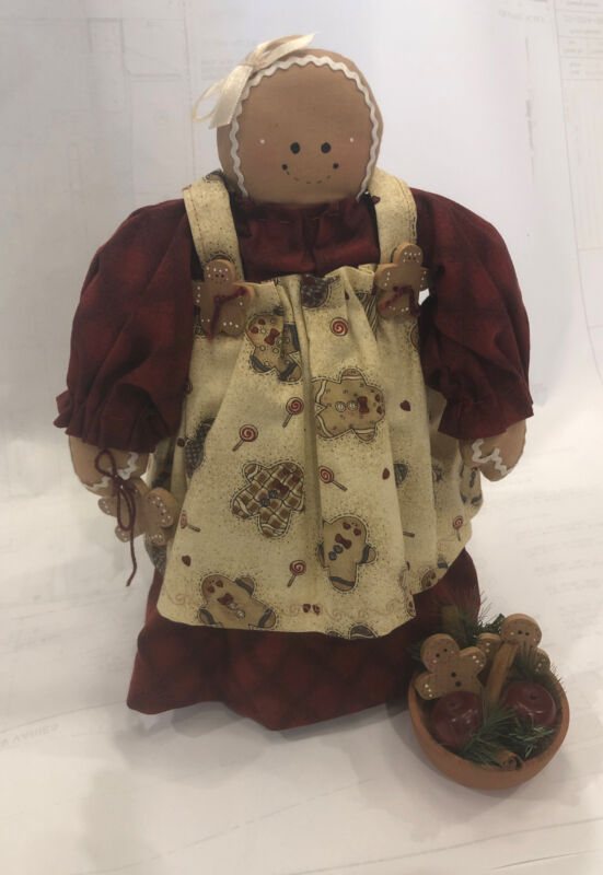 """Country/ Farmhouse Gingerbread Girl Doll Christmas 10"""" Shelf Stand"""