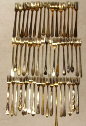 50 PC COCKTAIL FORK Flatware SILVERPLATE LOT VINTAGE CRAFT REUSE REPURPOSE