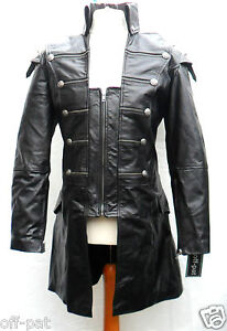 Black-GOTH-LAMBS-LEATHER-COAT-Mans-Rock-Gothic-Steampunk-Punk-Jacket