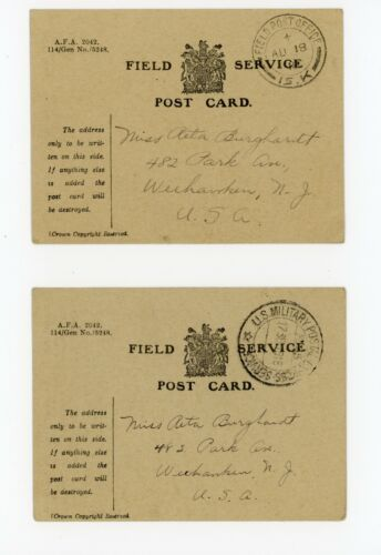 WWI US Field Service Postcards British Cards 78th Div Infantry Doughboy from NJ