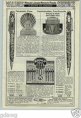 1933 PAPER AD Adams Wahl's Store Display New Oxford Fountain Pen Vogue Epenco