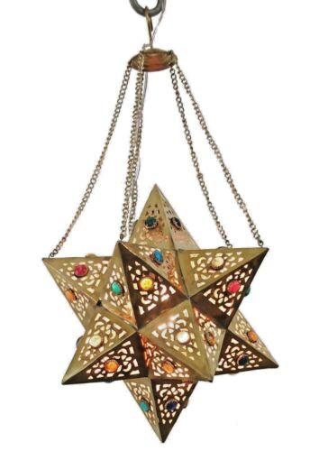 BR354 Handmade Brass Egyptian Moroccan Jeweled Star Pendant Hanging Lamp