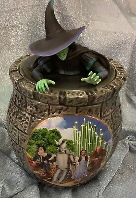RARE Wizard Of Oz Cookie Jar with Wicked Witch Lid, COA, Cookie Recipe & Cutter!