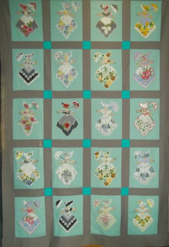 SunBonnet Sue QUILT TOP •  Southern Belle • Created with (Vintage Handkerchiefs)
