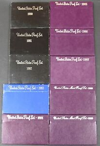 1980 - 1989 US Mint Proof Sets Brilliant Coins and Packaging