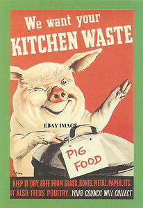 VINTAGE-WARTIME-WE-WANT-YOUR-KITCHEN-WASTE-FOR-PIG-POSTER-420-X-297mm-A3-137