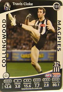 TRAVIS CLOKE 2012 TEAMCOACH COLLINGWOOD FOOTBALL CARD