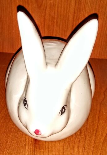 Vintage White Ceramic Rabbit Cotton Ball Holder