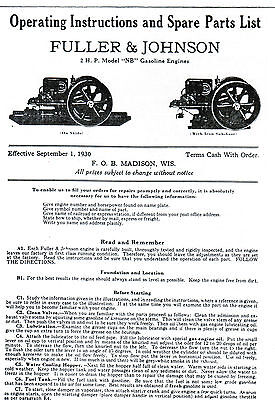 Fuller Johnson Fj Gas Engine Motor Type Nb Manual Book Hit Miss 2hp Parts List