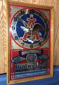 BEAUTY! Vintage BUDWIESER Beer MIRROR Framed BUD Clock Sign