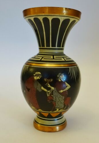 nN18 ANCIENT GREEK REPRODUCTION COPPER PAINTED VASE