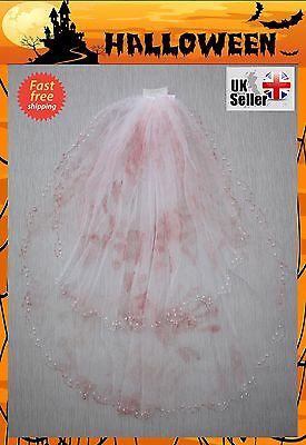 UK Dead Bridal Blood Veil Halloween Fancy Dress Costume Party Horror Bride To Be](Party Halloween Costumes Uk)