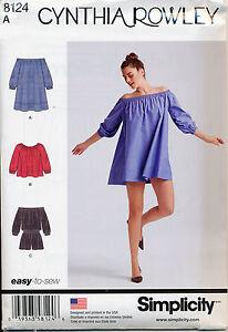 SIMPLICITY SEWING PATTERN 8124 MISSES 6-24 OFF THE SHOULDER DRESS TOP JUMPSUIT