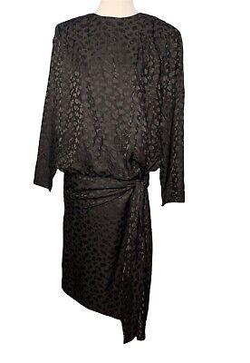 Men's 1920s Style Ties, Neck Ties & Bowties Vintage Silk Studio Dress Size 8 Black 100% Silk Long Sleeve Hip Tie 1920s Style $32.95 AT vintagedancer.com