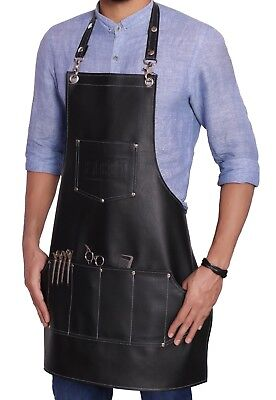 Professional Leather Hairdressing Barber Apron Cape for Barber Hairstylist BLACK