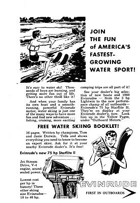 1950's Evinrude Starflite Boat Motor Easy To Water Ski Join The Fun Print Ad Vtg