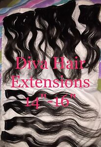"Dark brown hair extensions ""Diva Hair"" brand"