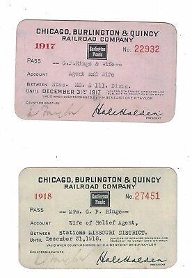 2 Chicago, Burlington & Quincy Railroad Passes 1917 & 1918 - Good Shape!
