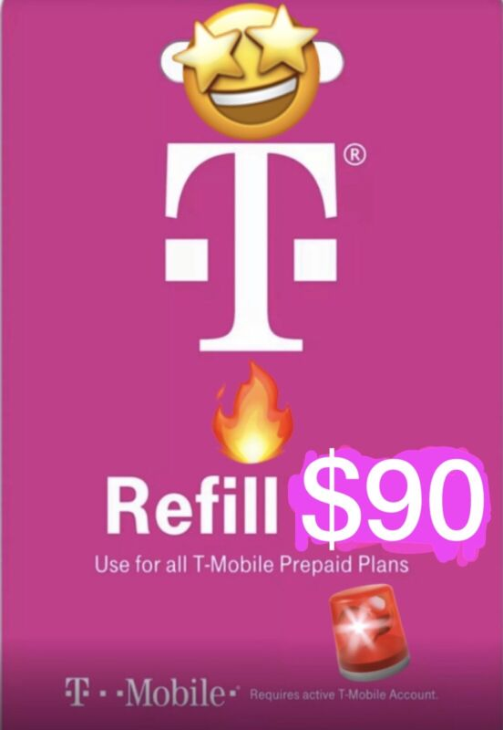 T-Mobile $90 Prepaid Refill Card, Air Time Top-Up (SAME DAY DIRECT REFILL )