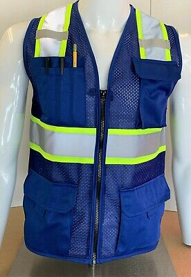 Two Tone High Visibility Reflective Royal Blue Safety Vest X-small-5xl
