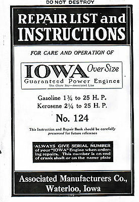 Iowa Over Size Power Associated Gas Engine Motor Manual Book Hit Miss 1.75-25hp