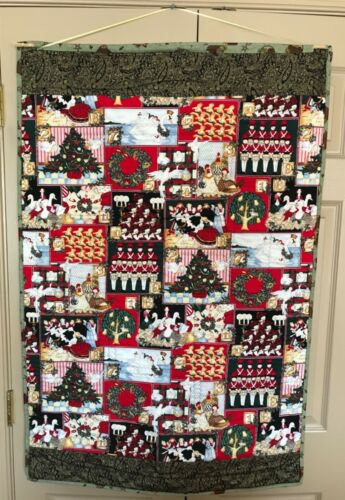 """Gorgeous Reversible """"Twelve Days of Christmas"""" Quilted Wall Hanging"""