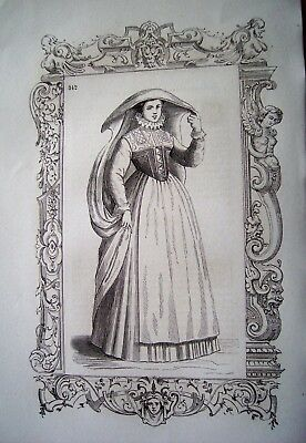 97-6-i Gravure 1860 costume dame noble de Cologne au 19e siècle - Noble 6 Costume