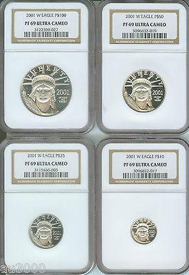 Platinum Ngc Coin Set - 2001-W 4coin SET $100 50 25 10 PROOF PLATINUM EAGLE STATUE LIBERTY NGC PR69 PF69