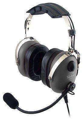 SkyLite Aviation Pilot MP3 GA Headset with GEL, FREE BAG - Made in Korea - Grey