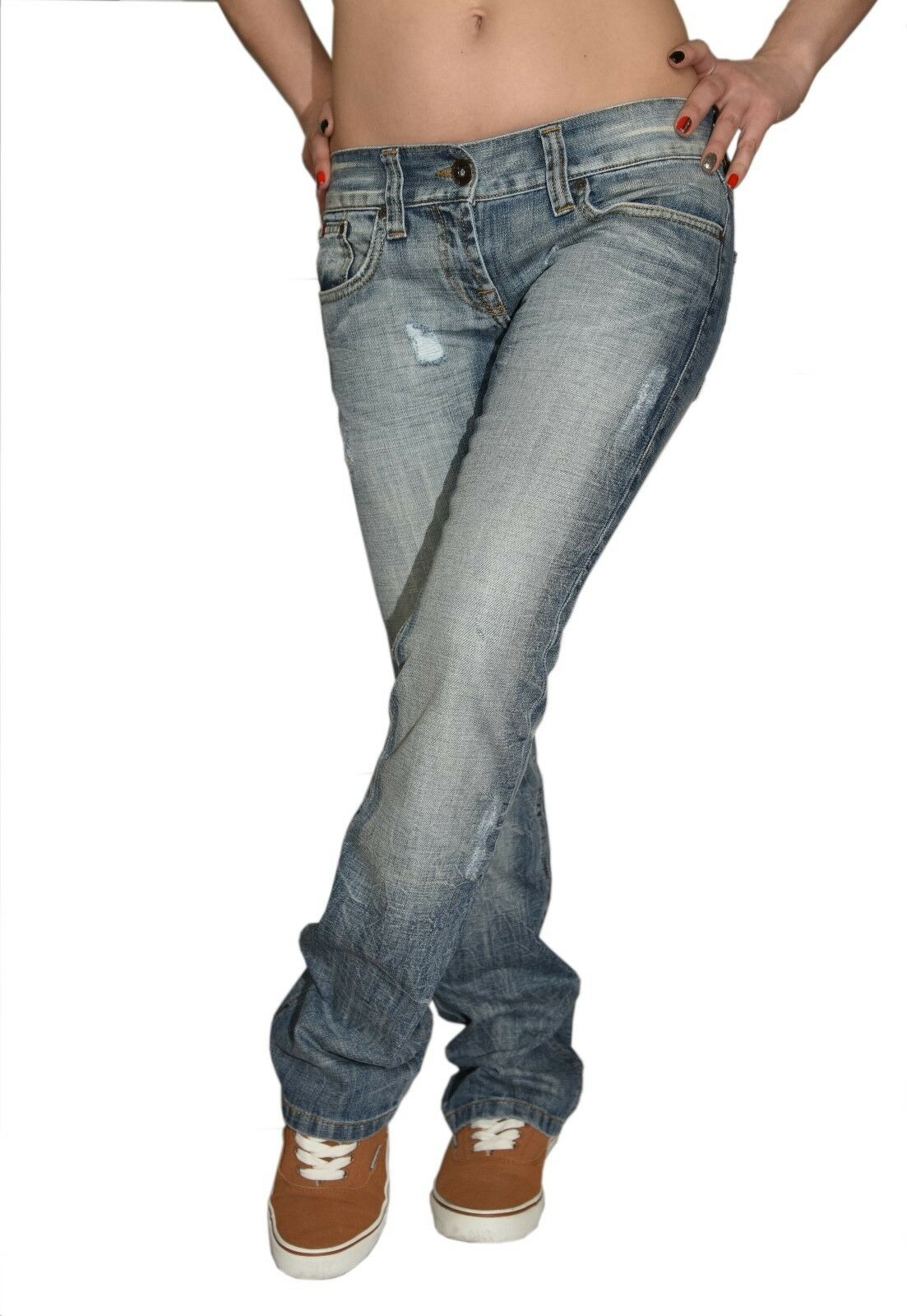 Damen Jeans Hüfthose Bootcut Hellblau Gr. 27- 32 XS-L Baumwolle Decon-7787-