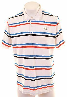 LACOSTE Mens Polo Shirt Size 8 2XL Multicoloured Striped Cotton Slim Fit  CS06
