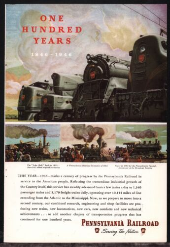 1946 PENNSYLVANIA RAILROAD 100th Anniversary AD Old Train Advertising