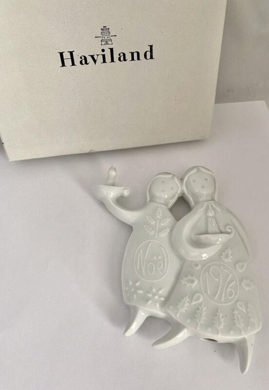 1976 HAVILAND Limoges FRANCE Porcelain SLEEPY ANGELS Christmas Ornament IOB