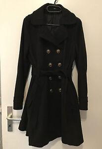 H&M Winter Mantel Swing Rockabilly schwarz L XL 42 44 tailliert Wintermantel