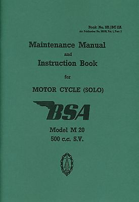 BSA M20 500cc SV WD Motorcycle Solo Maintenance Manual and Instruction Book