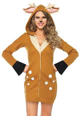achsene Damen Kostüm mit Kapuze Reißverschluss Vorne Kostüm (Gemütliche Kostüme)