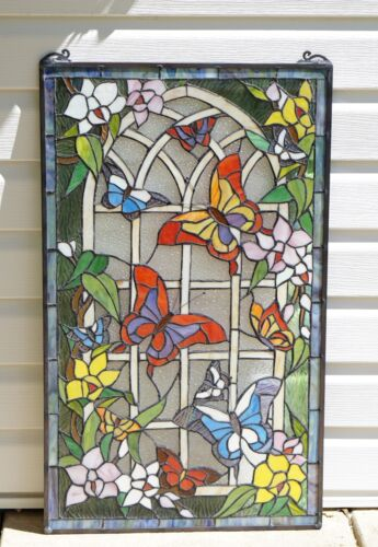 """20"""" x 34"""" Large Handcrafted stained glass window panel Butterfly Garden Flower"""